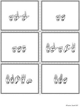 American Sign Language ASL Sight Words Pocket Chart Center - Primer