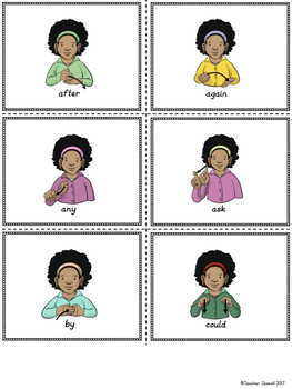 American Sign Language ASL Sight Words Pocket Chart Center - First Grade