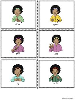 ASL American Sign Language Sight Words Pocket Chart Center - First Grade