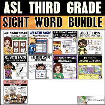 American Sign Language ASL Third Grade Sight Word Bundle