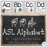 American Sign Language ASL Word Wall Alphabet and Alphabet Line { 4 skin tones }
