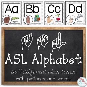American Sign Language ASL Word Wall Alphabet and Alphabet Line { 4 skin tones }