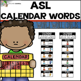 ASL American Sign Language Word Wall Cards - Calendar Words