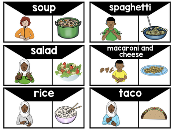 American Sign Language ASL Word Wall Cards - Mealtime Words