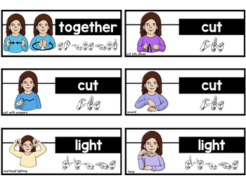 American Sign Language ASL Word Wall Cards - Pre-Primer Sight Words