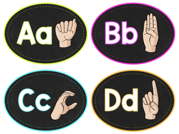 ASL American Sign Language Word Wall Cards - Pre-Primer Sight Words