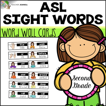 American Sign Language ASL Word Wall Cards - Second Grade Sight Words