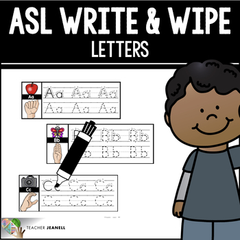 ASL American Sign Language Write and Wipe Cards - Letters
