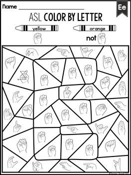 American Sign Language ASL Alphabet Color by Letter