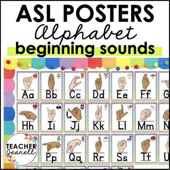 ASL American Sign Language Alphabet Posters (2 skin tones)