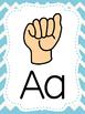 American Sign Language Alphabet Posters Blue, Pink & Lime Chevron