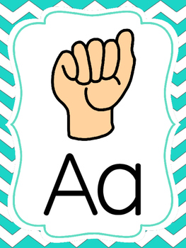 American Sign Language Alphabet Posters Purple, Pink & Teal Chevron