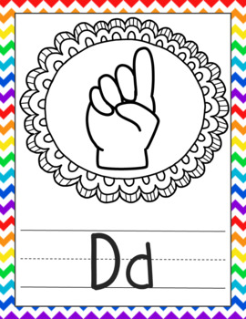 American Sign Language Alphabet Posters Rainbow and Printer-Friendly