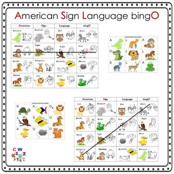 American Sign Language Animal Bingo Game (ASLO) by ... - photo#25