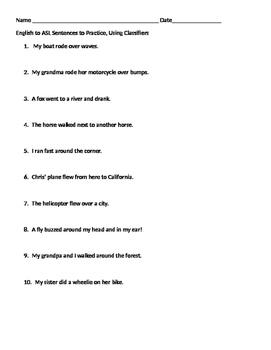 American Sign Language Classifer Sentence practice 2