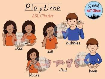 American Sign Language ASL Clip Art - Indoor Playtime