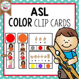 ASL American Sign Language Color Clip Cards