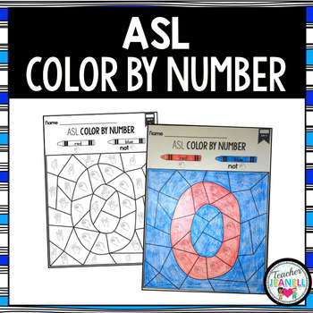 American Sign Language ASL Color by Number