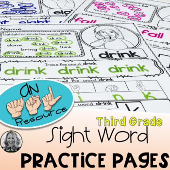 American Sign Language  DOLCH Practice Pages THIRD GRADE Level One