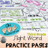 American Sign Language  DOLCH Practice Pages THIRD GRADE L