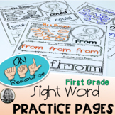 American Sign Language Dolch FIRST GRADE Sight Word Practice Pages Level One