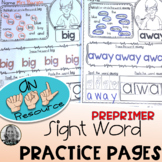 American Sign Language Dolch PREPRIMER Sight Word Practice Pages Level One
