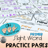American Sign Language Dolch Primer Sight Word Practice Pages Level ONE