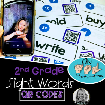 American Sign Language Dolch QR Codes Second Grade