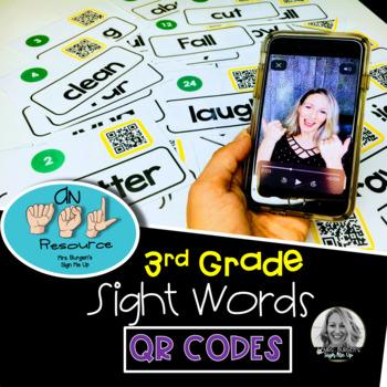 American Sign Language Dolch QR Codes Third Grade