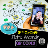 American Sign Language Dolch QR Codes Third Grade