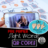 American Sign Language Dolch QR code PrePrimer