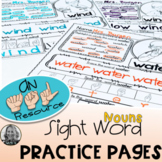 American Sign Language Dolch Sight Word Practice Pages  NOUNS