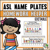 ASL American Sign Language Editable Name Plate and Homewor