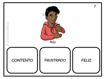 American Sign Language Emotions (SPANISH) Task Cards - ASL