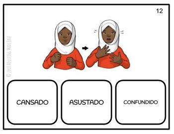 American Sign Language Emotions SPANISH Task Cards ASL FREEBIE