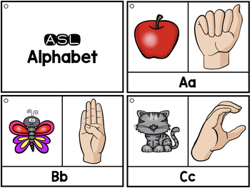 ASL Vocabulary Cards & Tracker - Letters, Numbers, Colors, Wh Words