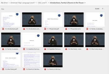 American Sign Language Level 1 Videos