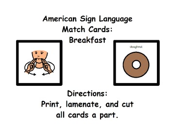 American Sign Language Match Cards: Breakfast (ESE or Gen. Ed)