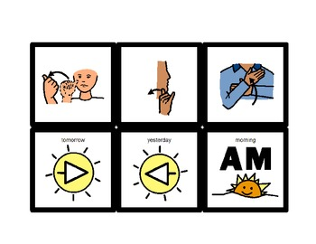 American Sign Language Match Cards: Concepts of Time (ESE or Gen. Ed)