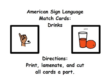 American Sign Language Match Cards:  Drinks (Gen. Ed. or ESE)