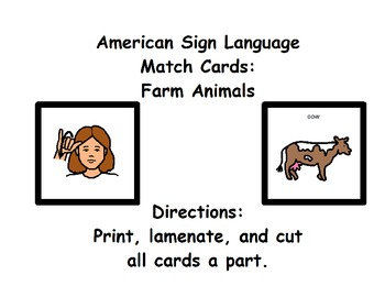 American Sign Language Match Cards: Farm Animals (ESE or ... - photo#28