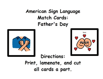 American Sign Language Match Cards:  Father's Day (Gen. Ed. or ESE)