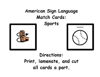 American Sign Language Match Cards: Sports (Gen. Ed. or ESE)