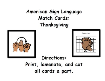 American Sign Language Match Cards:  Thanksgiving (Gen. Ed. or ESE)