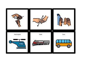 American Sign Language Match Cards: Transportation (ESE or Gen. Ed)