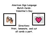 American Sign Language Match Cards: Valentine's Day (Gen.