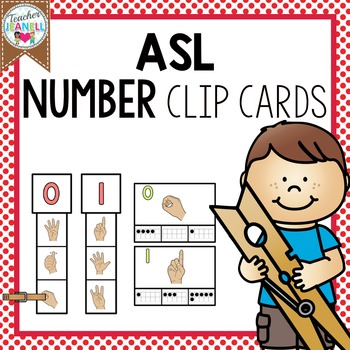 ASL American Sign Language Number Clip Cards