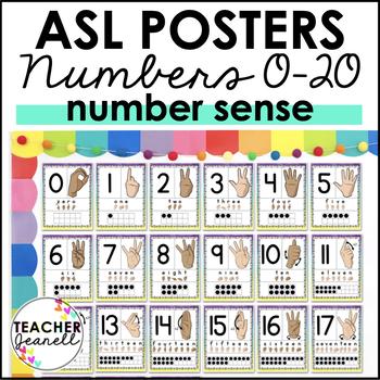 ASL American Sign Language Number Posters 0-20 (2 skin tones)