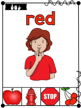 American Sign Language ASL Color Posters