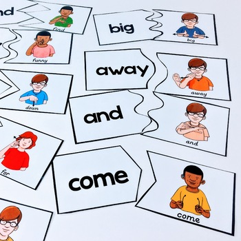 American Sign Language Preprimer Dolch Sight Word Puzzles